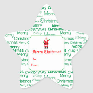 Merry Christmas & Santa Claus Gift Star Sticker