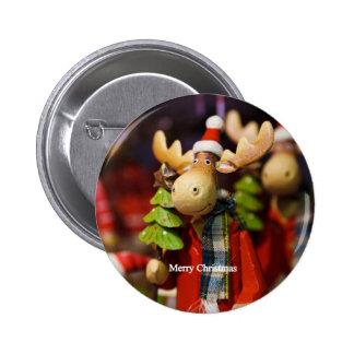 Merry Christmas Santa Claus Moose Pinback Button