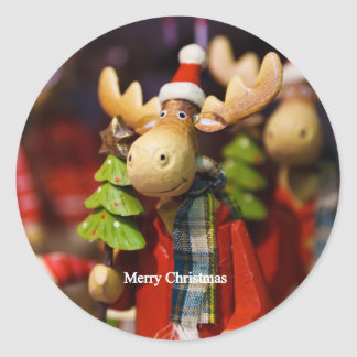 Merry Christmas Santa Claus Moose Classic Round Sticker