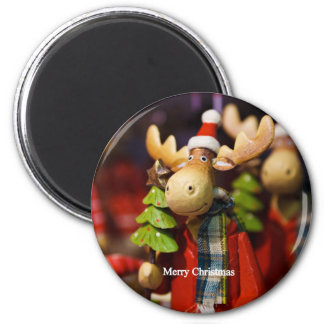 Merry Christmas Santa Claus Moose Magnet