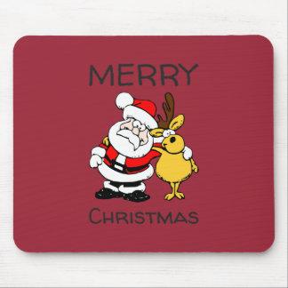 Merry Christmas Santa Claus Reindeer Hug Mousepads