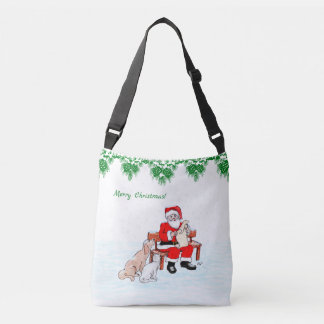 Merry Christmas - Santa Claus with Cat and Dog Crossbody Bag