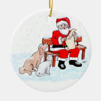 Merry Christmas - Santa Claus with Cat and Dog Double-Sided Ceramic Round Christmas Ornament
