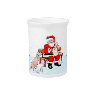 Merry Christmas - Santa Claus with Cat and Dog Drink Pitcher
