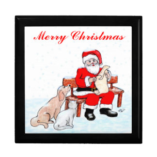 Merry Christmas - Santa Claus with Cat and Dog Gift Box