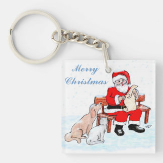 Merry Christmas - Santa Claus with Cat and Dog Keychain