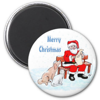 Merry Christmas - Santa Claus with Cat and Dog Magnet