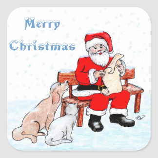 Merry Christmas - Santa Claus with Cat and Dog Square Sticker