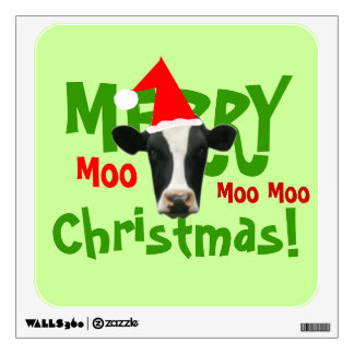 Merry Christmas Santa Cow Wall Decall Sticker