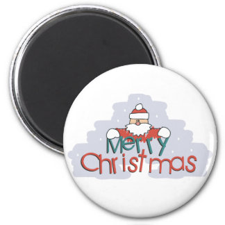 Merry Christmas Santa Doodle 2 Inch Round Magnet