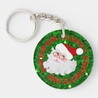 Merry Christmas Santa Face-2 Sided Keychain