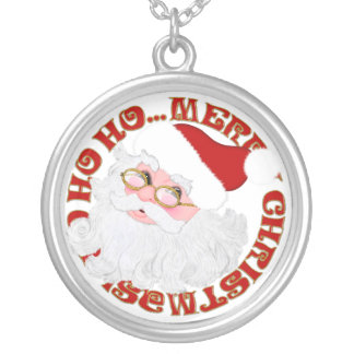 Merry Christmas Santa Face-ROUND NECKLACE