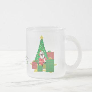 Merry Christmas Santa  Frosted Glass Christmas Mug