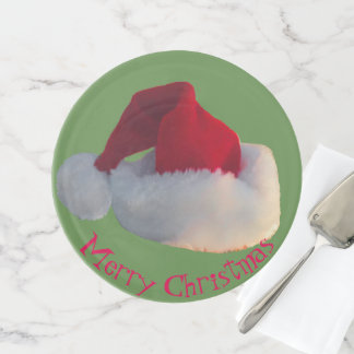 Merry Christmas Santa Hat green red Cake Stand