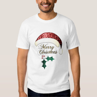 Merry Christmas Santa hat Red Gold Green Sparkles T Shirt
