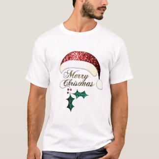 Merry Christmas Santa hat Red Gold Green Sparkles T-Shirt