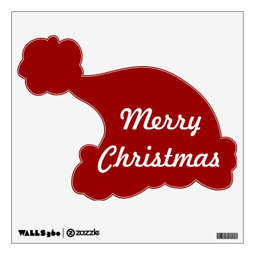 Merry christmas santa hat removable wall decal zazzle
