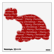 Merry Christmas Santa Hat Removable Wall Decal