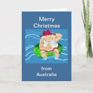 Merry from australia christmas cards zazzle merry christmas santa in australia holiday card m4hsunfo