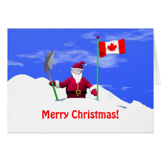Merry Christmas Santa in Canada Greeting Cards