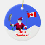 Merry Christmas Santa in Canada Double-Sided Ceramic Round Christmas Ornament