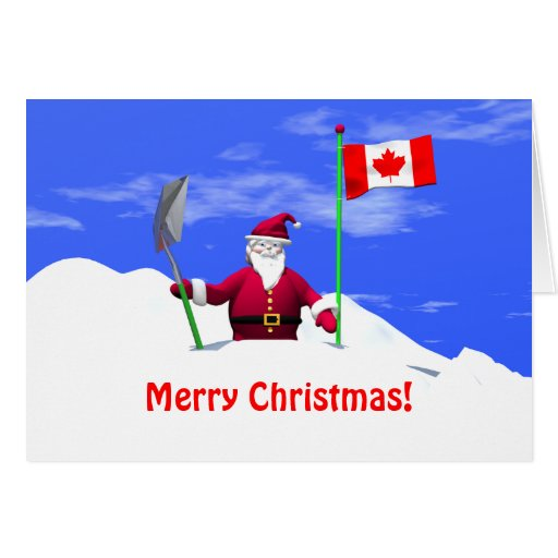 Merry Christmas Santa In Canada Greeting Cards Zazzle