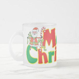 Merry Christmas Santa Mug! Frosted Glass Coffee Mug