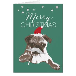 Merry Christmas Santa Mustache Pug Holiday Card
