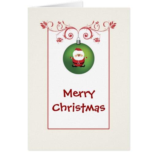 Merry Christmas Santa Ornament Greeting Card