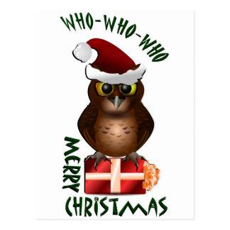 """Merry Christmas"" Santa Owl Postcard"