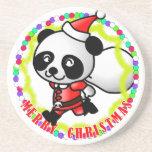 Merry Christmas Santa Panda Coaster