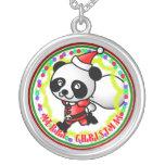 Merry Christmas Santa Panda Necklace