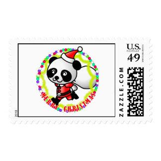 Merry Christmas Santa Panda Postage Stamps
