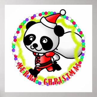 Merry Christmas Santa Panda Print