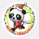 Merry Christmas Santa Panda Round Stickers