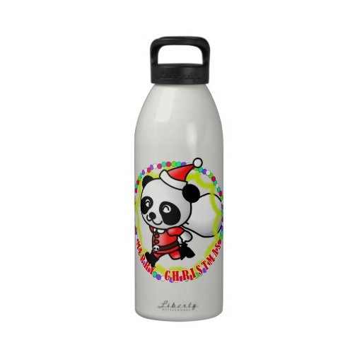 Merry Christmas Santa Panda Water Bottles