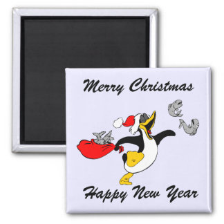 Merry Christmas Santa Penguin And Fish Magnet