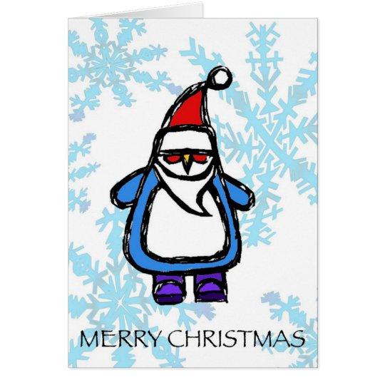 merry christmas - santa penguin card