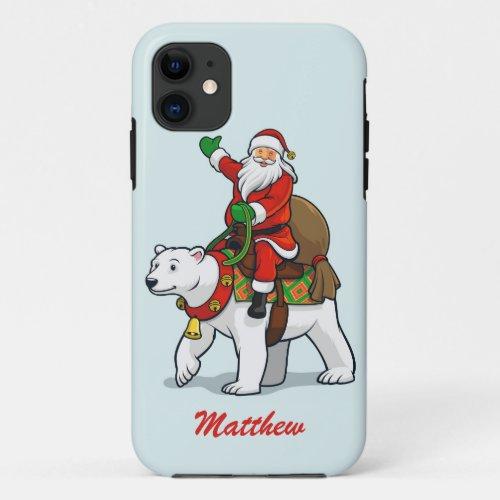 Merry Christmas Santa Polar Bear Personalized Name iPhone 11 Case