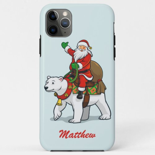 Merry Christmas Santa Polar Bear Personalized Name iPhone 11 Pro Max Case