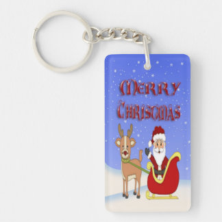 Merry Christmas Santa Rectangle Acrylic Key Chain