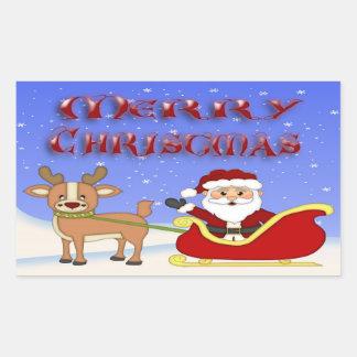 Merry Christmas Santa Rectangle Stickers