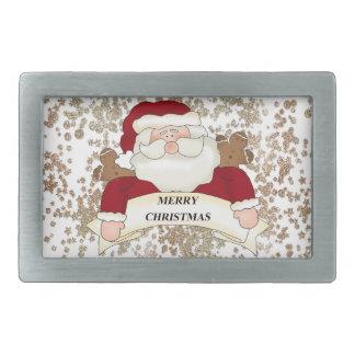 Merry Christmas Santa Rectangular Belt Buckle