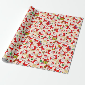 Merry Christmas Santa Red Gold Wrapping Paper
