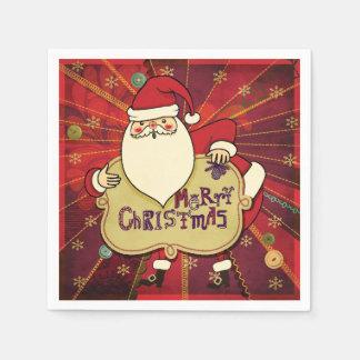Merry Christmas Santa Red Paper Napkin