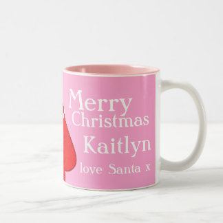 Merry Christmas Santa red/pink girls mug