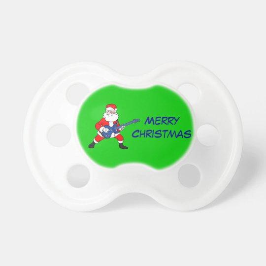 Merry Christmas Santa Rockin Guitar Pacifier