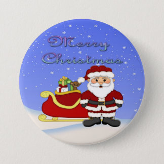 Merry Christmas Santa Round Button