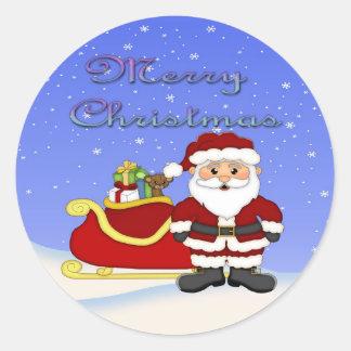Merry Christmas Santa Round Stickers