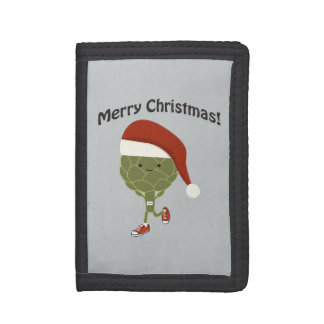 Merry Christmas! Santa Running Artichoke Tri-fold Wallet